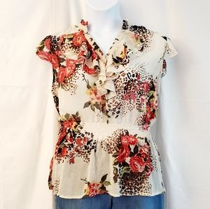 Xhilaration Floral Sheer Top, Size XXL